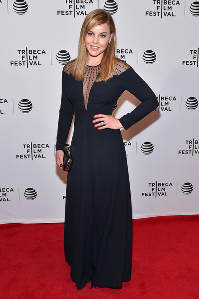 Abbie Cornish went for edgy elegance in a navy gown with a sheer, studded yoke during the Tribeca Film Fest premiere of 'Lavender.'