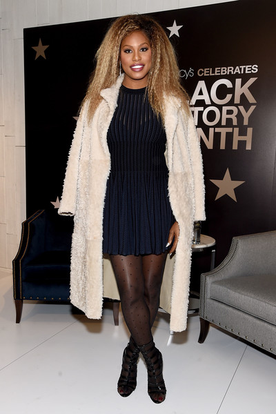 Laverne Cox Fur Coat [clothing,fashion model,fashion,outerwear,leg,fur,footwear,long hair,tights,thigh,macys herald square,new york city,laverne cox]