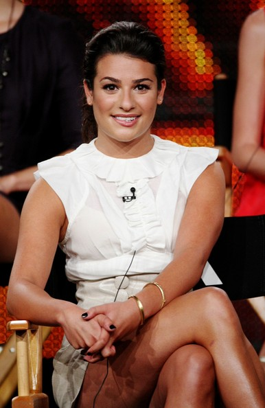 Lea Michele Gold Bracelet [television show,glee,leg,beauty,thigh,fashion,sitting,human body,human leg,lea michele,california,pasadena,the langham huntington hotel spa,fox network,summer tca tour,portion,summer television critics association press tour]