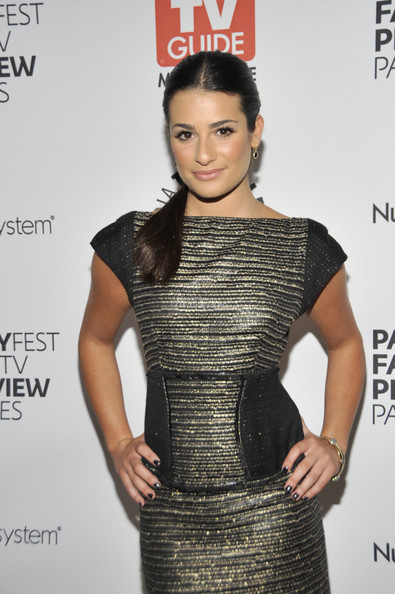 Lea Michele Dangling Gemstone Earrings [fox fall tv preview party,paleyfest tv guide magazine,clothing,cocktail dress,dress,fashion model,fashion,hairstyle,shoulder,neck,little black dress,premiere,beverly hills,california,paley center for media,lea michele]