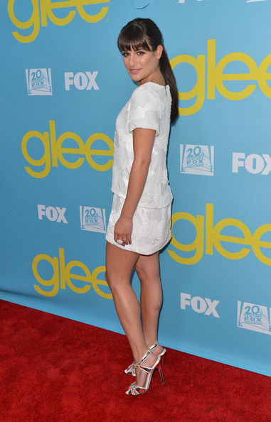 Lea Michele Diamond Ring [glee,clothing,shoulder,carpet,red carpet,joint,premiere,dress,footwear,cocktail dress,knee,lea michele,leonard goldenson theatre,north hollywood,california,academy of television arts sciences screening of fox,academy of television arts sciences,screening]