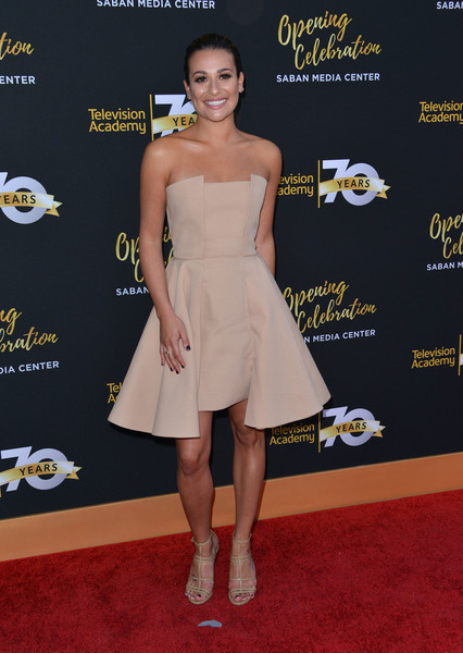 Lea Michele Gladiator Heels [flooring,fashion model,shoulder,carpet,joint,dress,fashion,leg,red carpet,cocktail dress,lea michele,chris delmas,los angeles,california,television academy,afp,70th anniversary gala - arrivals,television academy 70th anniversary celebration]