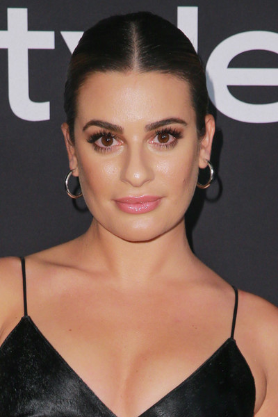 Lea Michele Gold Hoops [hair,face,eyebrow,hairstyle,lip,beauty,skin,chin,forehead,cheek,arrivals,lea michele,instyle awards,the getty center,los angeles,california]