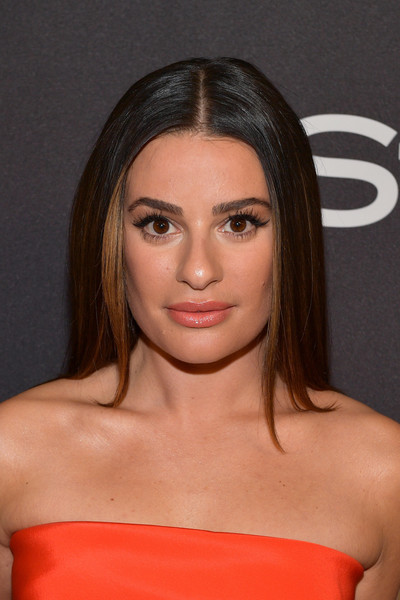 Lea Michele Long Straight Cut [hair,face,hairstyle,eyebrow,shoulder,lip,chin,beauty,forehead,brown hair,lea michele,beverly hills,california,the beverly hilton hotel,instyle,red carpet,warner bros. 76th annual golden globe awards,warner bros. 76th annual golden globe awards post-party]