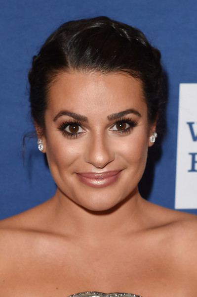 Lea Michele Braided Updo [red carpet,hair,face,eyebrow,hairstyle,chin,forehead,skin,lip,cheek,head,lea michele,glaad media awards,new york city,the hilton midtown]