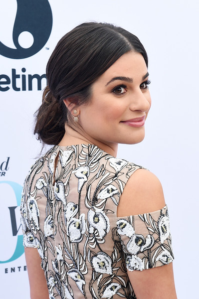 Lea Michele Chignon [the hollywood reporter,hair,hairstyle,shoulder,clothing,beauty,eyebrow,chin,black hair,eyelash,neck,annual women in entertainment breakfast,lea michele,los angeles,hollywood,california,hollywood reporter,milk studios]