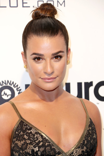 Lea Michele Hair Knot [hair,eyebrow,fashion model,hairstyle,beauty,chin,forehead,eyelash,shoulder,long hair,arrivals,lea michele,west hollywood park,california,the city,elton john aids foundation,oscar viewing party,academy awards viewing party]