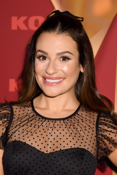 Lea Michele Half Up Half Down [holiday season,hair,face,hairstyle,eyebrow,beauty,lip,brown hair,fashion,eyelash,smile,kohl,lea michele,new gifts at every turn,pop-up,new york city,kohl\u00e2,holiday pop-up opening event]