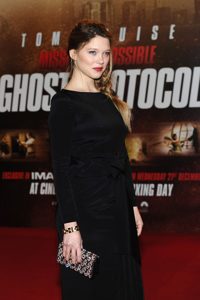 Lea Seydoux Gemstone Inlaid Clutch [mission: impossible ghost protocol,shoulder,red carpet,clothing,premiere,dress,carpet,little black dress,fashion,joint,flooring,lea seydoux,uk,england,london,bfi imax,premiere]