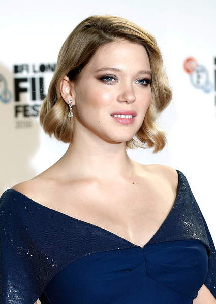 Lea Seydoux Dangling Diamond Earrings [the end of the world,hair,face,hairstyle,shoulder,blond,eyebrow,beauty,lip,skin,chin,lea seydoux,bfi flare special presentation - 60th,bfi flare special presentation,odeon leicester square,london,england,bfi london film festival,screening]