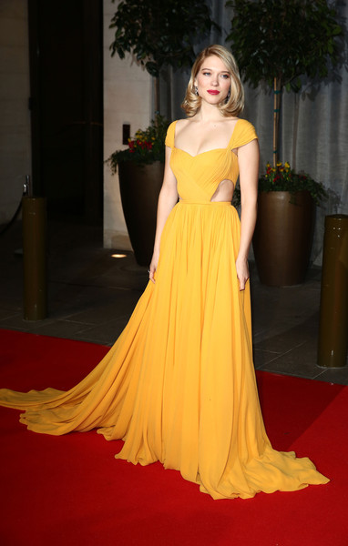 Lea Seydoux Cutout Dress [fashion model,gown,dress,clothing,carpet,shoulder,red carpet,yellow,haute couture,flooring,lea seydoux,ee,england,london,the grosvenor house hotel,party,british academy film awards,red carpet arrivals]