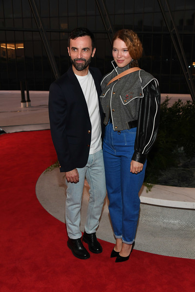 Lea Seydoux High-Waisted Jeans [cruise 2020 fashion show,red carpet,carpet,outerwear,event,premiere,flooring,jeans,denim,jacket,nicolas ghesquiere,lea seydoux,new york city,jfk airport,louis vuitton,louis vuitton cruise 2020 fashion show]