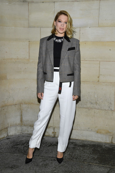 Lea Seydoux Cropped Jacket [clothing,white,street fashion,fashion,suit,outerwear,blazer,pantsuit,formal wear,jacket,seydoux,front row,part,l\u00e3,paris,france,louis vuitton,paris fashion week womenswear spring]