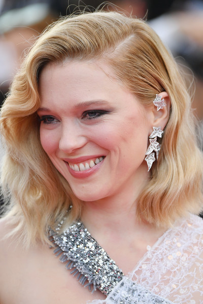 Lea Seydoux Medium Wavy Cut [hair,face,hairstyle,blond,eyebrow,ear,beauty,skin,chin,lip,jury member lea seydoux,screening,everybody knows todos lo saben opening gala red carpet arrivals - the 71st annual cannes film festival,everybody knows todos lo saben and the opening gala during the 71st annual cannes film festival at palais des festivals on may 8,france,cannes]
