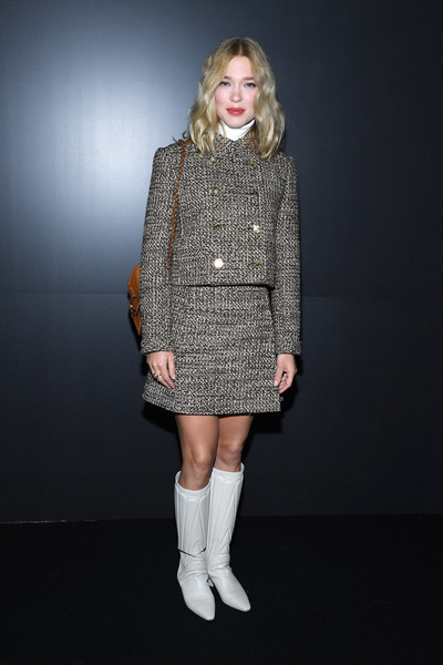 Lea Seydoux Skirt Suit [clothing,fashion model,fashion,footwear,knee,joint,dress,outerwear,leg,boot,supermodel,socialite,front row,fashion,part,model,fashion model,haute couture,louis vuitton,paris fashion week womenswear fall,runway,fashion show,fashion,supermodel,haute couture,model,socialite]