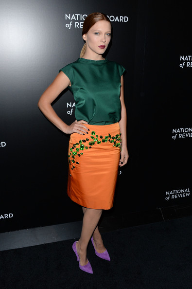 Lea Seydoux Loose Blouse [clothing,orange,fashion model,fashion,dress,yellow,pencil skirt,waist,shoulder,cocktail dress,lea seydoux,stars,new york city,cipriani 42nd street,national board of review awards gala,national board of review awards gala]