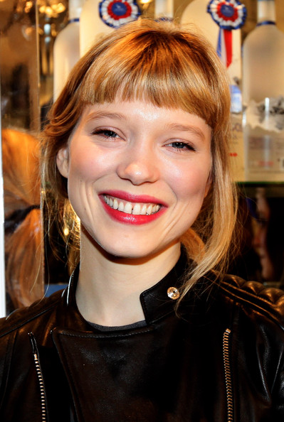Lea Seydoux Loose Ponytail [lea seydoux,hair,face,hairstyle,blond,eyebrow,lip,bangs,beauty,smile,chin,grey goose christmas boutique,milan,italy,lea seydoux hosts grey goose]
