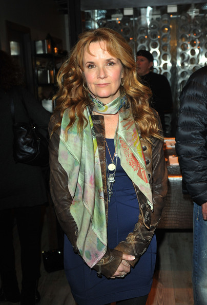 Lea Thompson Silk Scarf [the convincer,scarf,clothing,fashion,textile,fashion accessory,outerwear,jacket,fashion design,long hair,leather,lea thompson,dinner,park city,utah]