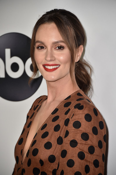 Leighton Meester Loose Ponytail [hair,fashion model,beauty,human hair color,hairstyle,eyebrow,polka dot,shoulder,smile,pattern,arrivals,leighton meester,beverly hills,california,the beverly hilton hotel,disney,abc television hosts tca summer press,tour,tca summer press tour]