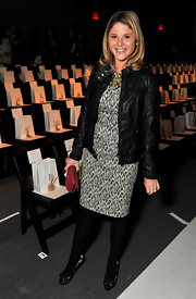 Jenna Bush rocked a black leather jacket at the Lela Rose Fall 2012 fashion show.