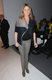 Jenna Bush looked amazing wearing gray skinny pants at the Lela Rose Fall 2013 fashion show.