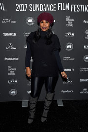 Nia Long attended the Sundance premiere of 'Lemon' rocking some shiny leggings.