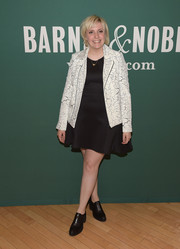 Lena Dunham brought a bit of edge to her book signing with this Cameo printed motorcycle jacket.