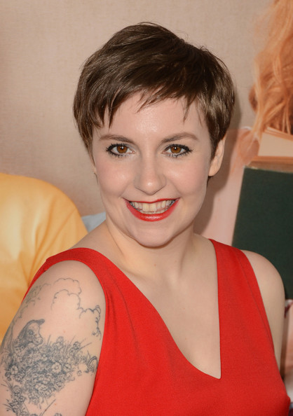 Lena Dunham Pixie [this is 40,hair,face,hairstyle,eyebrow,shoulder,beauty,blond,chin,lip,forehead,arrivals,lena dunham,grauman,california,hollywood,chinese theatre,universal pictures,premiere,premiere]