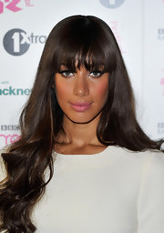 Leona Lewis opted for her signature hairstyle with soft waves and wispy bangs.