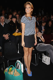 Sylvie van der Vaart played up the nautical trend in a chic blue and white striped top.