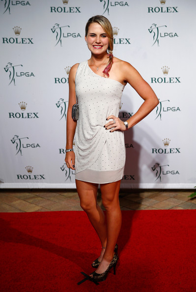 Lexi Thompson One Shoulder Dress [clothing,dress,cocktail dress,shoulder,hairstyle,carpet,fashion,red carpet,joint,premiere,lexi thompson,lpga rolex players awards,red carpet,naples,florida,ritz carlton,ceremony,rolex player awards]
