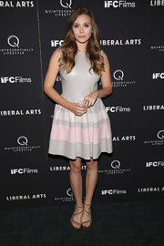 Elizabeth Olsen wore this sweet striped leather dress to the NY screening of 'Liberal Arts.'