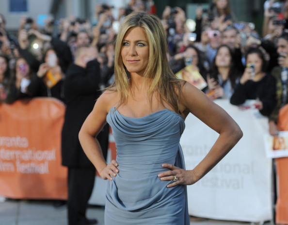 Jennifer Aniston's Smoldering Slate Blue Cocktail Dress