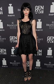 Krysten Ritter dazzled at a screening of 'Life Happens' in stunning nude peep-toe Pazza Biz sandals with ballerina-inspired black ribbon ties.