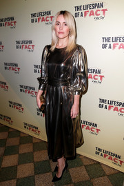 Rose Byrne glimmered in a gold cocktail dress by Les Coyotes de Paris at the opening night of 'The Lifespan of a Fact.'