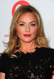 Elisabeth Rohm kept it classic at the launch of 'The Client List' wearing a lacy LBD and vibrant cherry red lipstick.