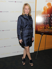 Amy Ryan attended the 'Like Crazy' NY premiere in a midnight blue iridescent shirt dress with a tie waist.