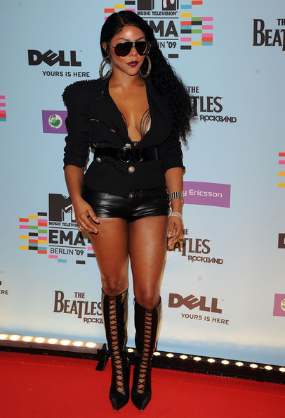 Lil Kim Blazer [lil kim,arrivals,mtv europe music awards 2009,clothing,thigh,leg,footwear,knee-high boot,fashion,eyewear,carpet,joint,knee,berlin,germany,o2 arena]