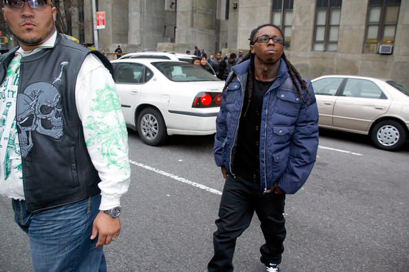 Lil Wayne wore a puffer jacket for his court visit in NYC.