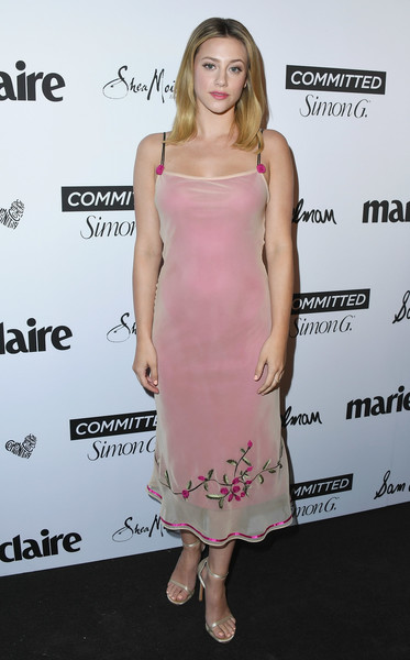 Lili Reinhart Cocktail Dress [marie claires 5th annual fresh faces,lili reinhart,poppy,clothing,dress,cocktail dress,shoulder,pink,hairstyle,premiere,joint,fashion model,fashion,california,los angeles,arrivals]