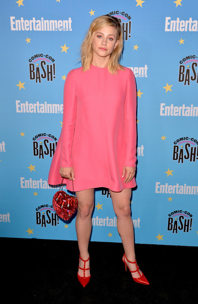 Lili Reinhart Long-Sleeved Shift Dress [entertainment weekly comic-con celebration - arrivals,lili reinhart,clothing,premiere,electric blue,footwear,dress,cocktail dress,carpet,style,san diego,hard rock hotel,california,entertainment weekly comic-con celebration at float]