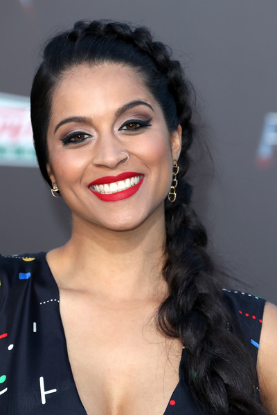 Lilly Singh Long Braided Hairstyle [power rangers,hair,face,lip,eyebrow,hairstyle,beauty,skin,chin,forehead,smile,arrivals,lilly singh,hair,hair,internet personality,braid,hairstyle,lionsgate,premiere,lilly singh,braid,power rangers,hairstyle,long hair,hair,hair coloring,black hair,bangs]