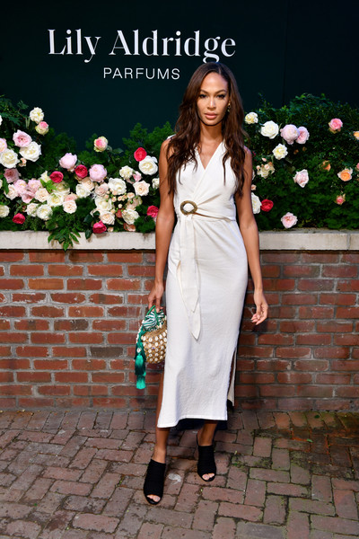More Pics of Joan Smalls Straw Tote (8 of 12) - Tote Bags Lookbook - StyleBistro [photo,white,clothing,dress,lady,shoulder,fashion,pink,footwear,joint,formal wear,joan smalls,lily aldridge,the bowery terrace,new york city,bowery hotel,lily aldridge parfums launch event,launch event]