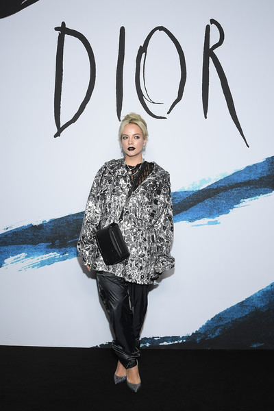 Lily Allen Oversized Jacket [blue,clothing,fashion,yellow,electric blue,design,outerwear,footwear,fashion design,photography,dior homme,lily allen,part,paris,france,dior homme menswear fall,photocall - paris fashion week,show,paris fashion week]