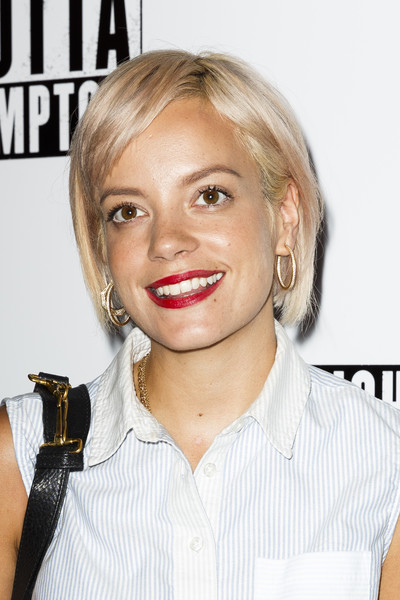 Lily Allen Bob [hair,face,blond,hairstyle,lip,eyebrow,chin,nose,cheek,bob cut,straight outta compton - special screening,screening,picturehouse central,london,england,lily allen]