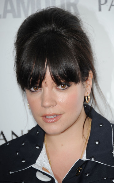 Lily Allen Beehive [glamour women of the year awards,lily allen,hair,hairstyle,face,bangs,black hair,eyebrow,chin,bob cut,layered hair,brown hair,london,england,berkeley square gardens]