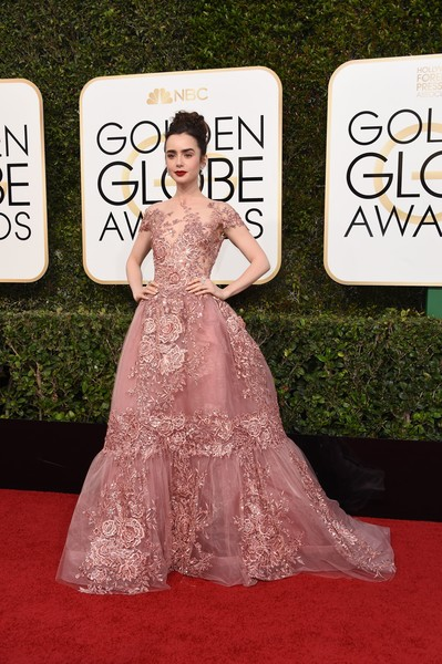 Lily Collins Princess Gown