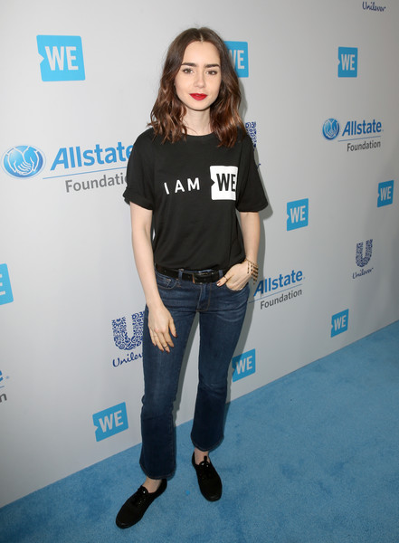 Lily Collins Bootcut Jeans [clothing,fashion,shoulder,jeans,hairstyle,t-shirt,footwear,joint,carpet,denim,come together at we day california,california,selena gomez,demi lovato,alicia keys,lily collins,young people changing the world,miss piggy,bryan cranston,dj khaled]