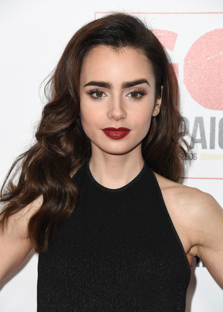 Lily Collins Red Lipstick Beauty Lookbook Stylebistro