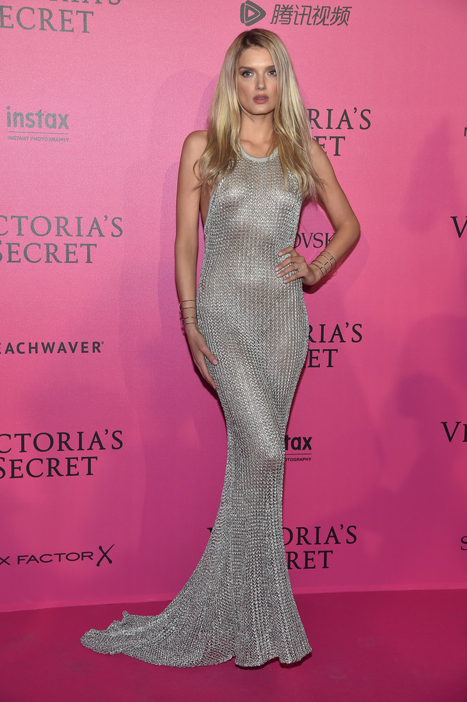 7deae97e051 Lily Donaldson looked ravishing in a slinky chainmail fishtail gown at the  Victoria s Secret fashion show
